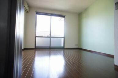 【南側洋室①】西側壁には淡いグリーンのアクセントクロスを採用しています。