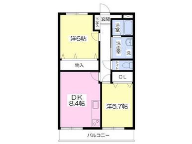 オール洋室・独立洗面・システムキッチン・広めの収納など使いやすい2DKタイプ♪駐車場は付き1台無料です