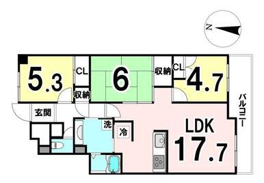 専有面積:75.01㎡ 3LDKの中古マンションです♪