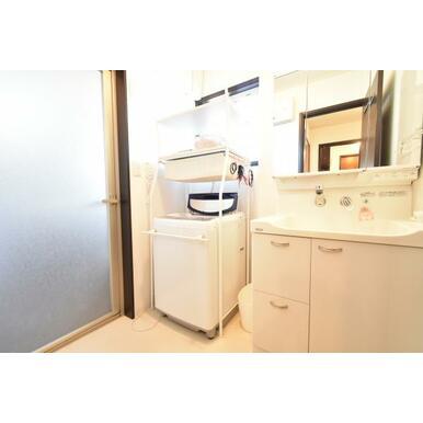 使いやすい三面鏡の中やベースキャビネットには収納スペースもたっぷり。手入れしやすいシャワー機能付。