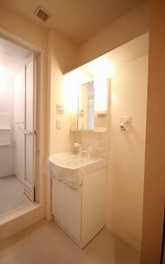 シャワー付き洗面台で、髪を洗うことも可能です☆洗面台の上には、収納棚があるのでタオルなども置けるので