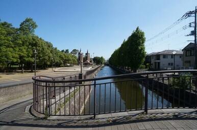 リバーヒル目の前、「葛西用水路」。用水路を挟んだ対岸は「鷺高 第五公園」です。市内有数の憩いの場にな