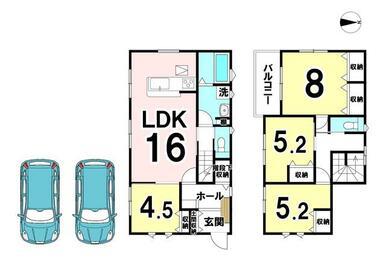 建物プラン例) 建物価格:1677.50万円 間取り:4LDK 建物面積100.80㎡