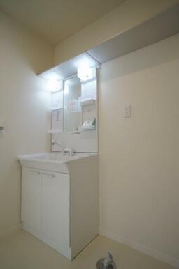 シャワー付きの洗面化粧台。上部に棚がありタオルや備品類を置けます。