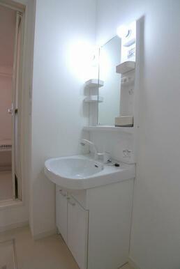 洗面化粧台はシャワー水栓ですので、使い勝手が良いんです☆