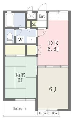 BT別・2人入居も可の最上階の42㎡・2DKタイプ!